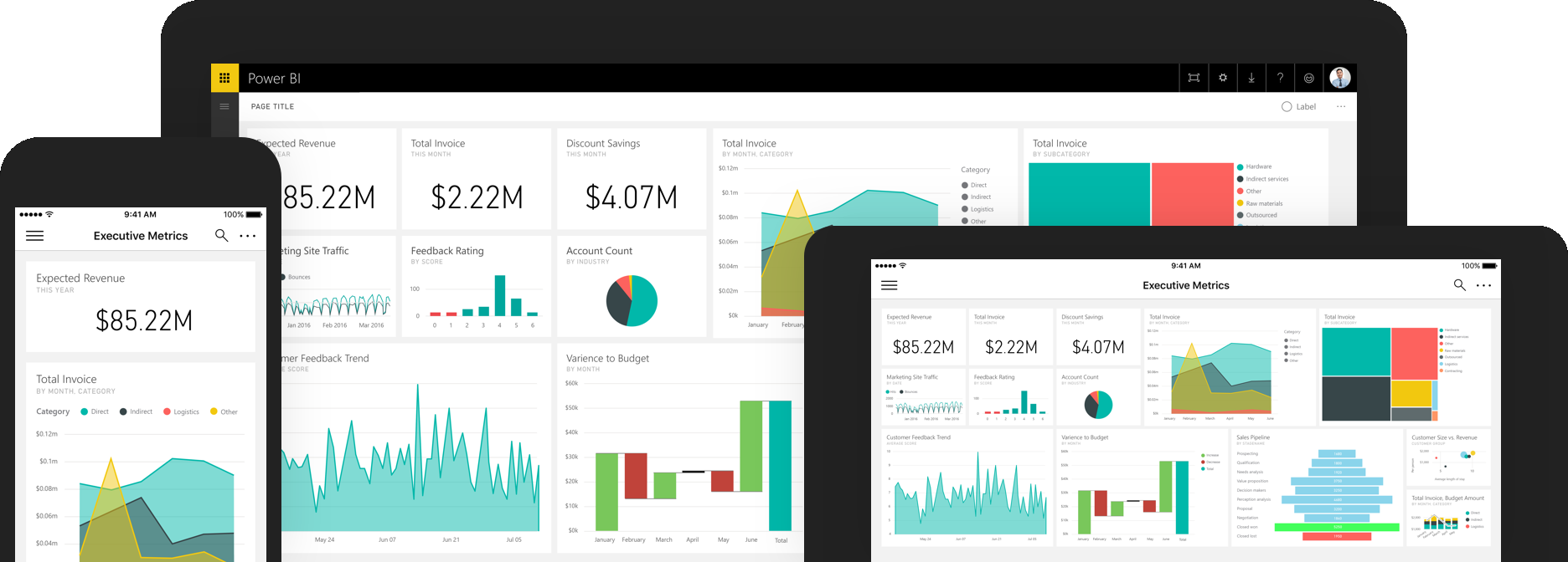 Power BI running on a phone and a tablet